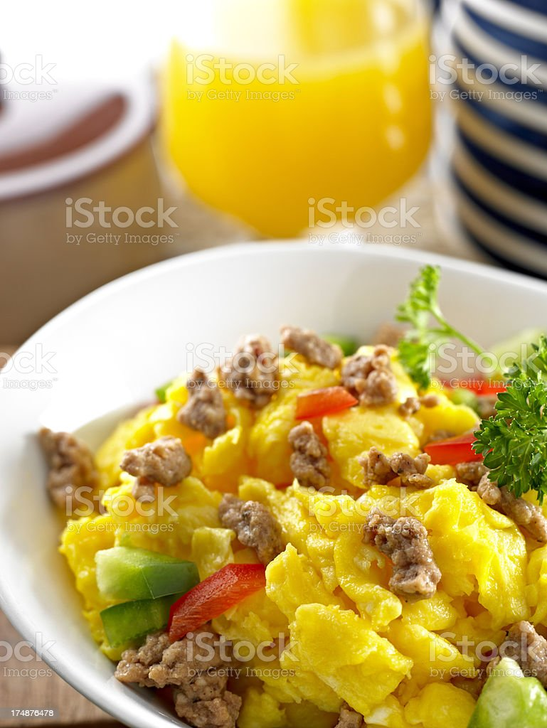 Scrambled Egg with Sausage royalty-free stock photo