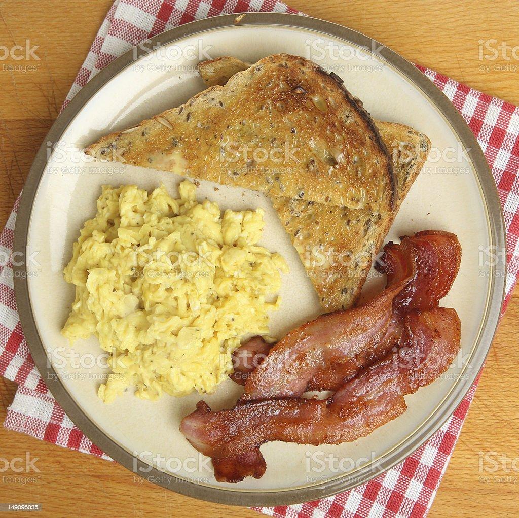 Scrambled Eggs, Bacon & Toast stock photo