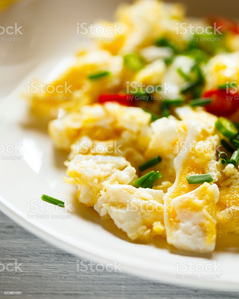 Scrambled eggs close up view stock photo