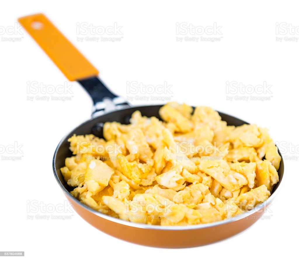 Scrambled Eggs in a Pan isoalted on white stock photo