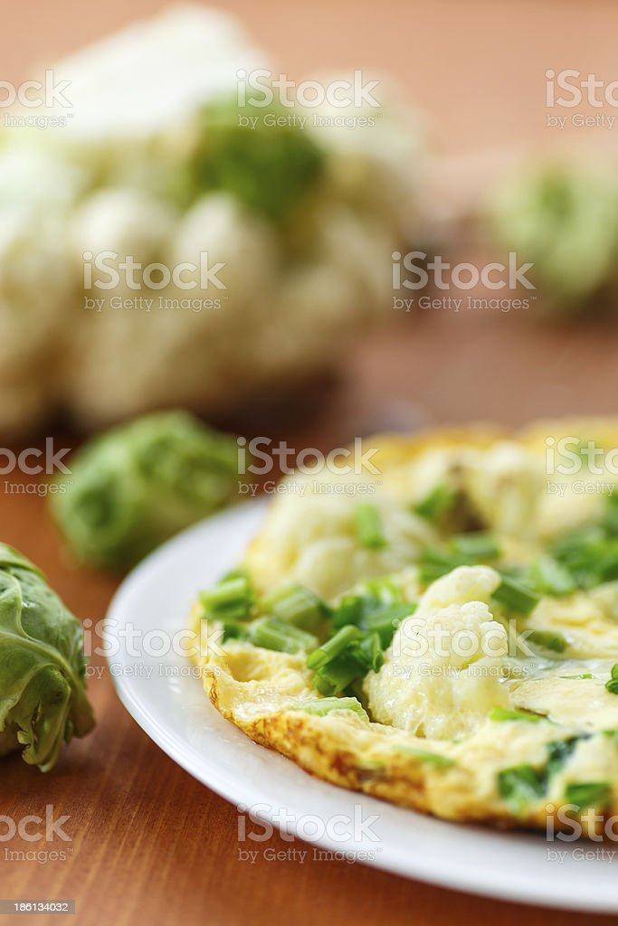 scrambled eggs with cauliflower royalty-free stock photo
