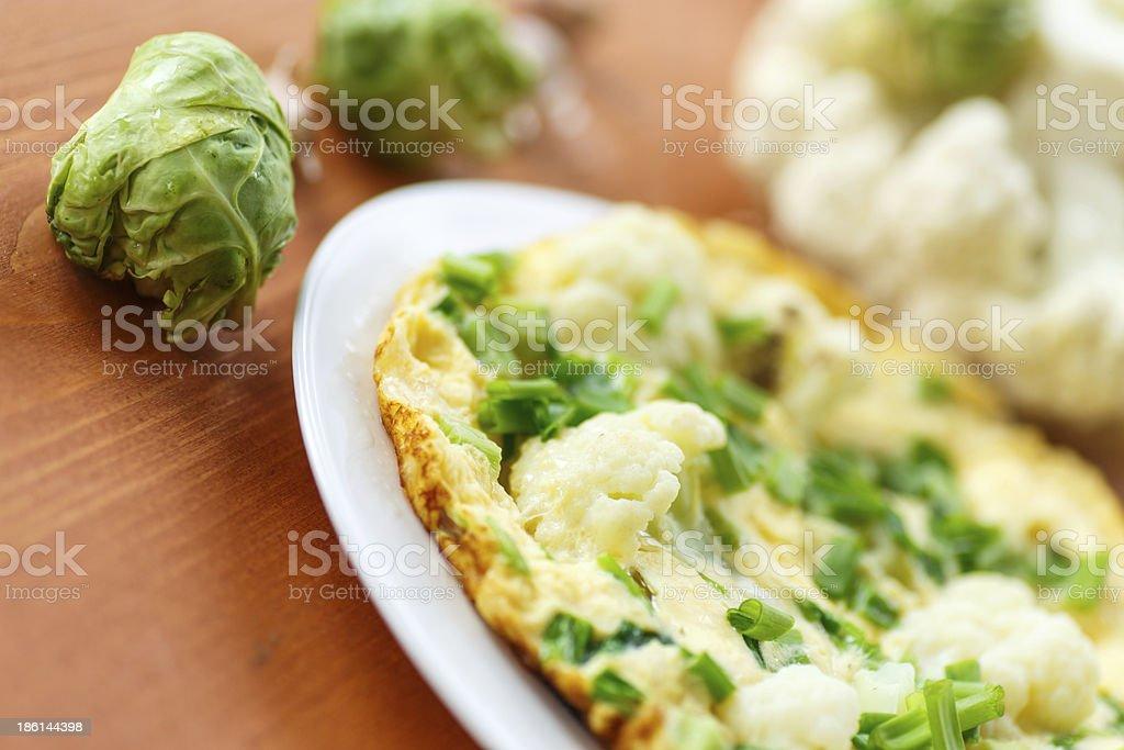 scrambled eggs with cauliflower royalty-free stock photo