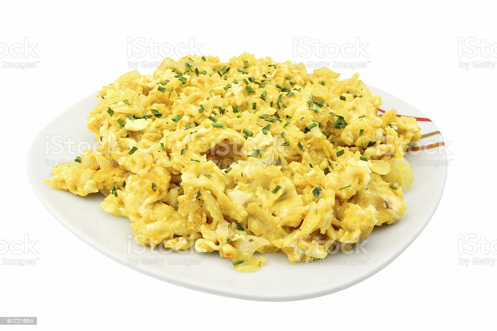 Scrambled eggs with chives stock photo