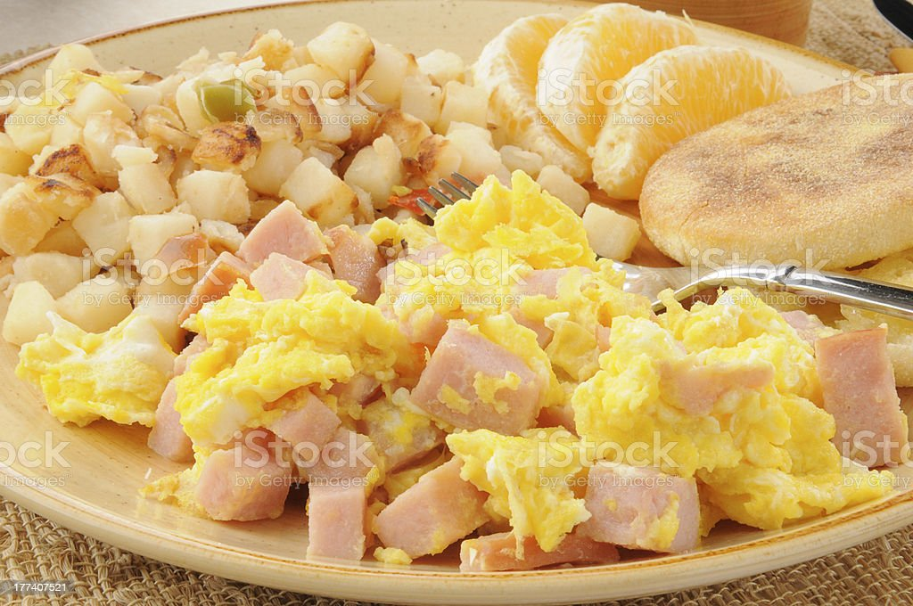 Scrambled eggs with diced ham royalty-free stock photo