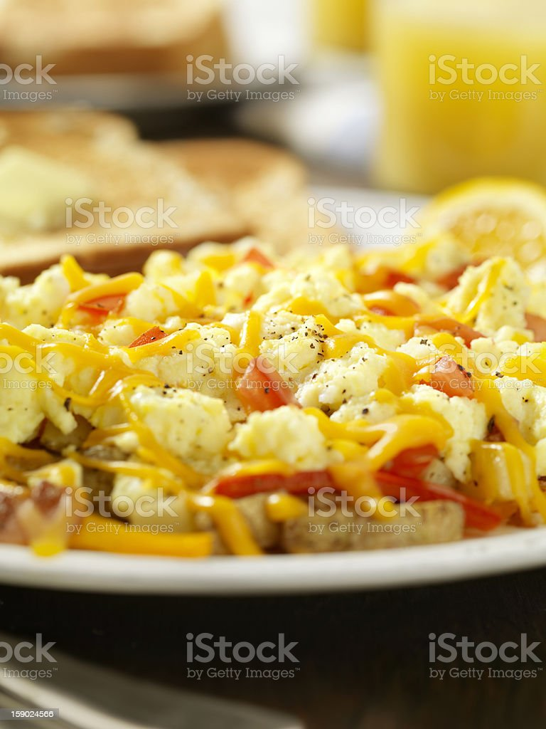 Scrambled Eggs with Hash Browns royalty-free stock photo