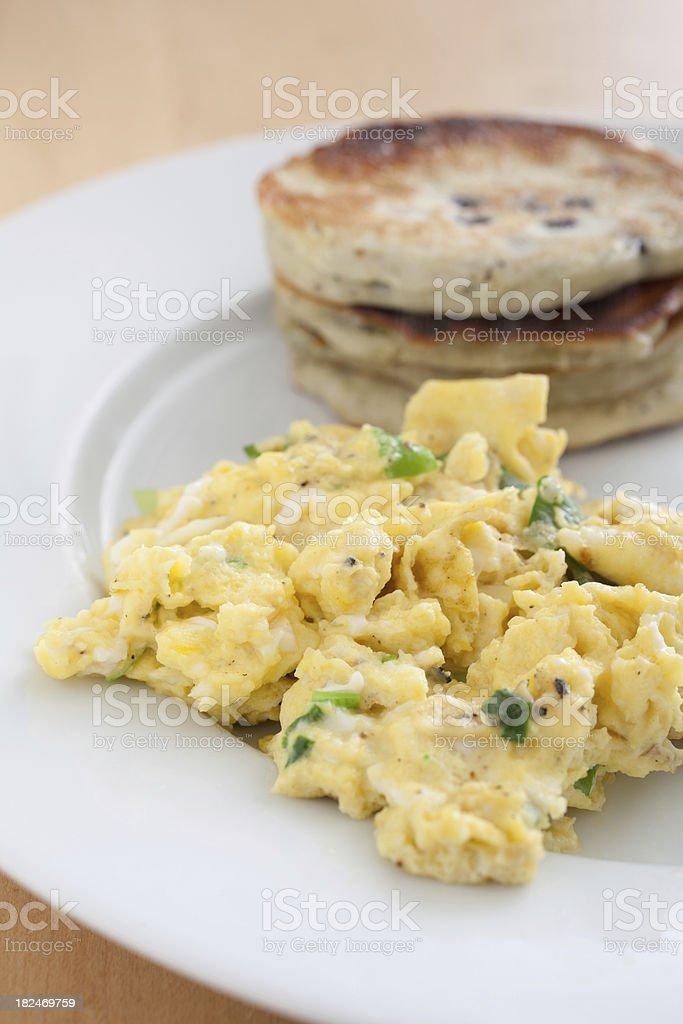 Scrambled Eggs with Lemon Blueberry Pancakes stock photo
