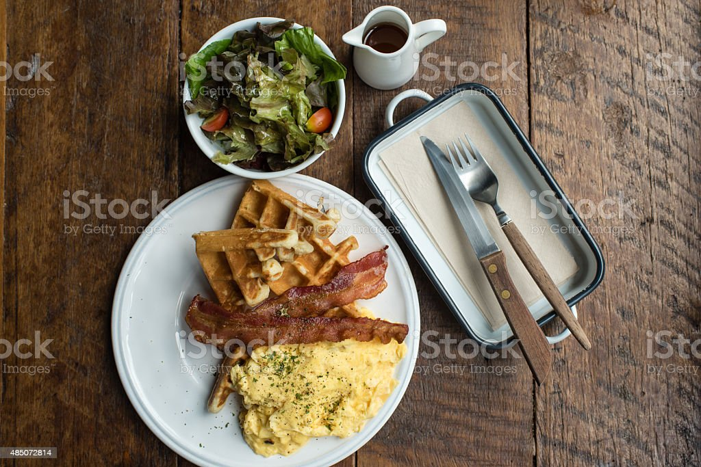 Scrambled Eggs with Salad Breakfast stock photo