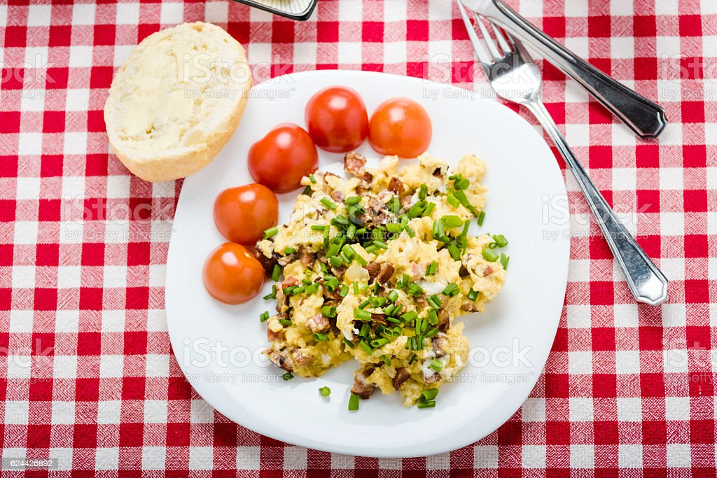 scrambled eggs with sausage stock photo