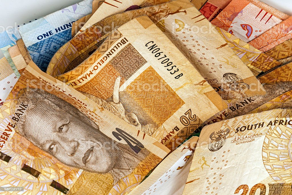 Scrambled South African Rand Bank Notes Close Up stock photo