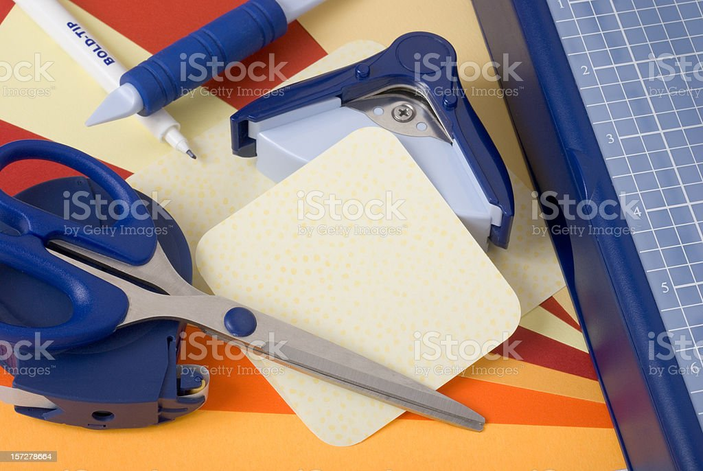 Scrap Booking Supplies With Paper Cutter royalty-free stock photo