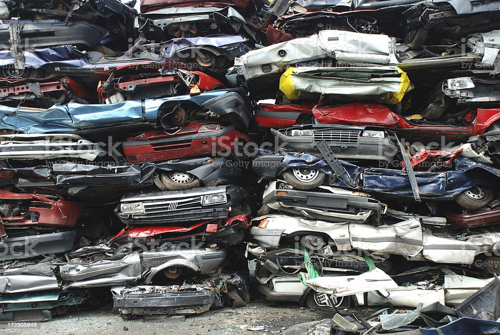 scrap cars in a stack royalty-free stock photo