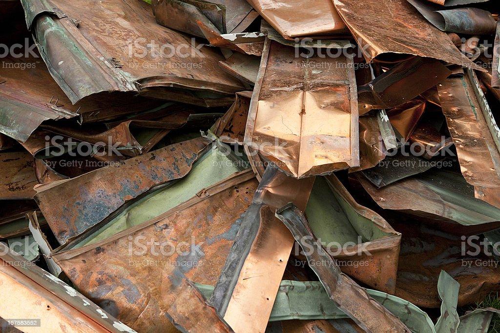 Scrap Copper Roofing stock photo