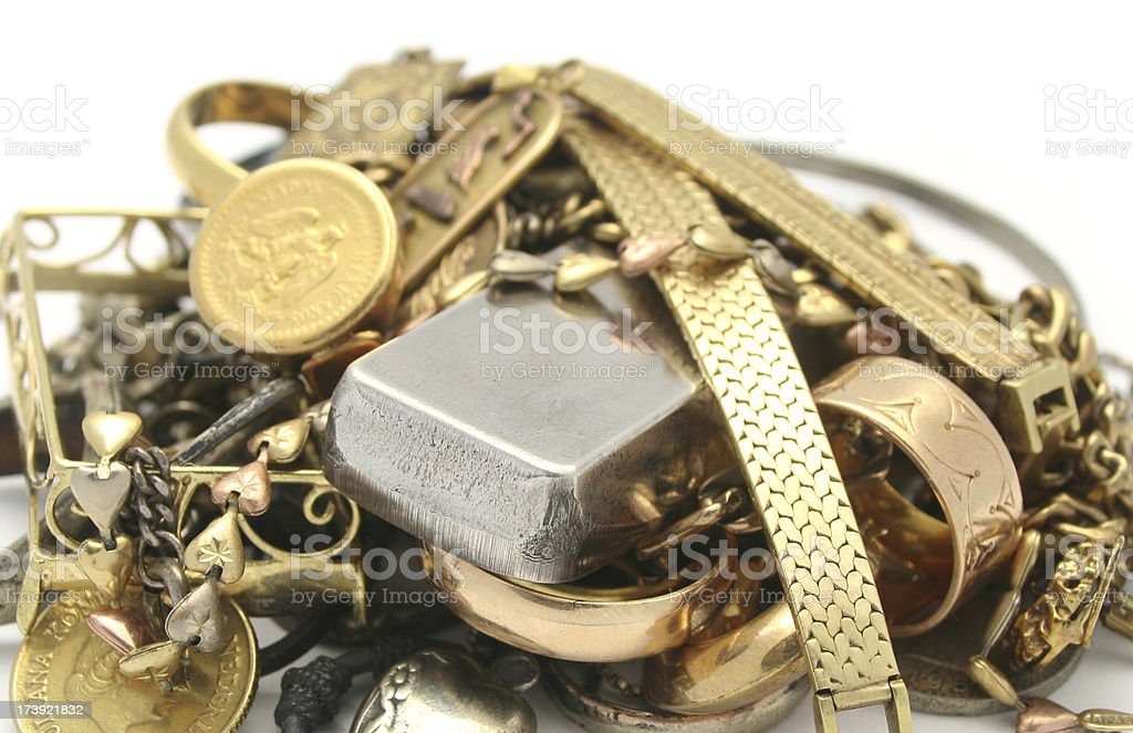 Scrap Gold and Silver stock photo