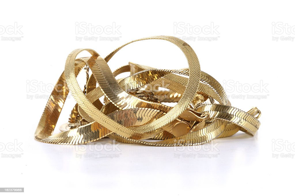 Scrap Gold Chains stock photo