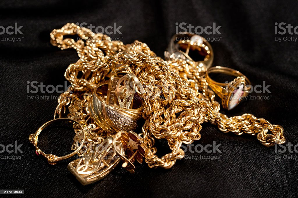 scrap gold jewellery stock photo