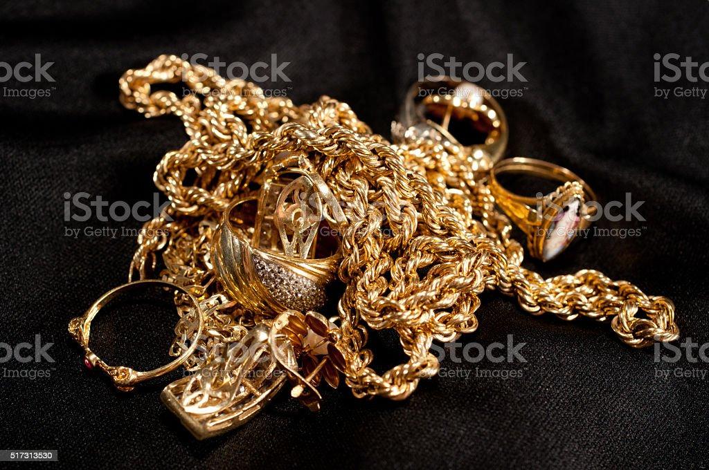 scrap gold jewellery stock photo