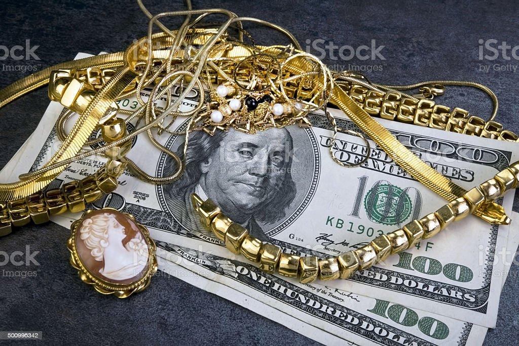 Scrap Gold Jewellry. stock photo
