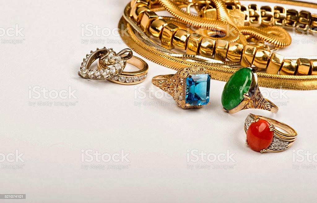 Scrap Gold Jewelry. stock photo