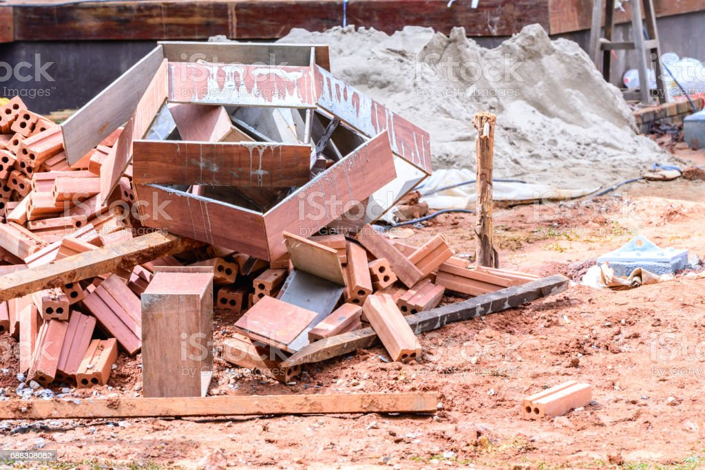 Scrap materials at construction site. stock photo
