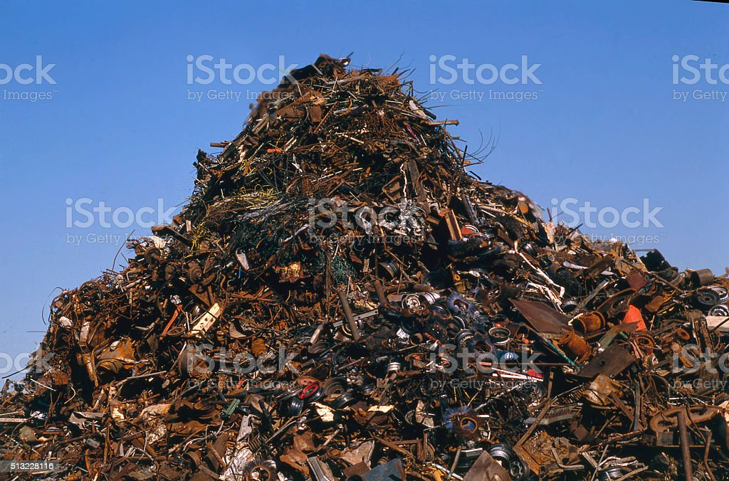 scrap metal hill stock photo