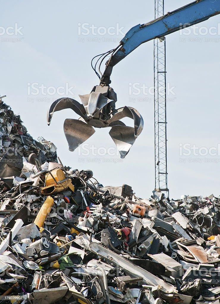 Scrap metal, iron and computer dump stock photo