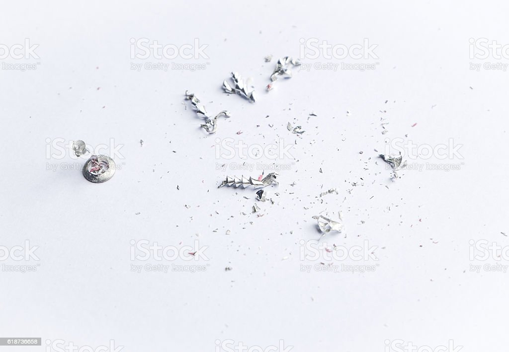 Scrap metal on white background -Close up Steel Shavings stock photo