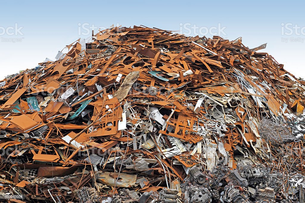 Scrap Metal Pile Ready For Shipment To A Recycling Facility stock photo