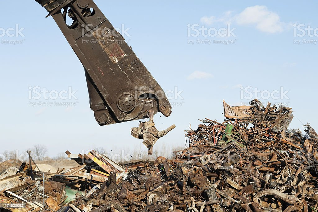 Scrap Metal Processing Shear Cutting royalty-free stock photo