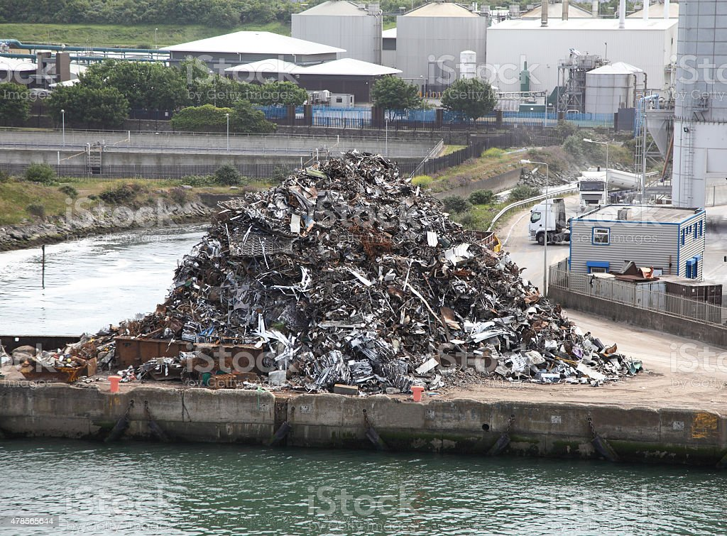 scrap metal ready for export on quayside stock photo