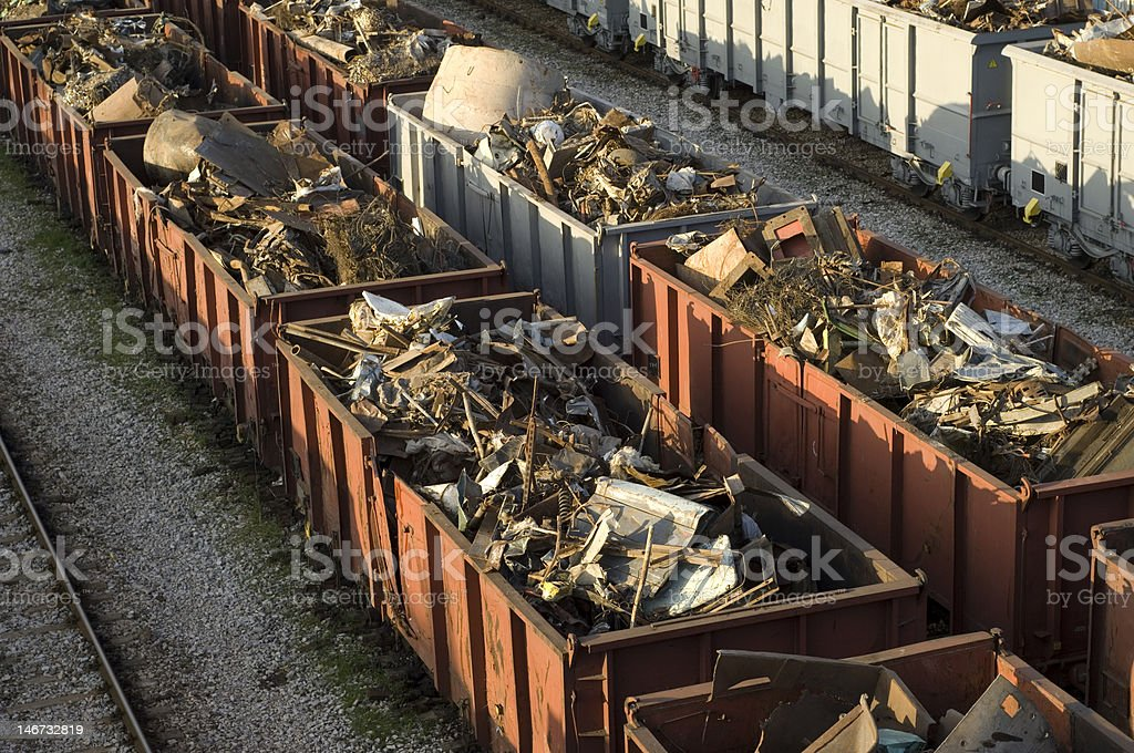 Scrap metal wagons. stock photo