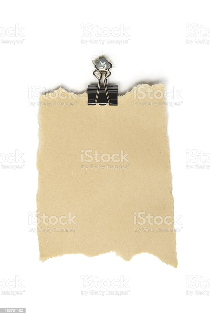 Scrap Paper with Clip royalty-free stock photo