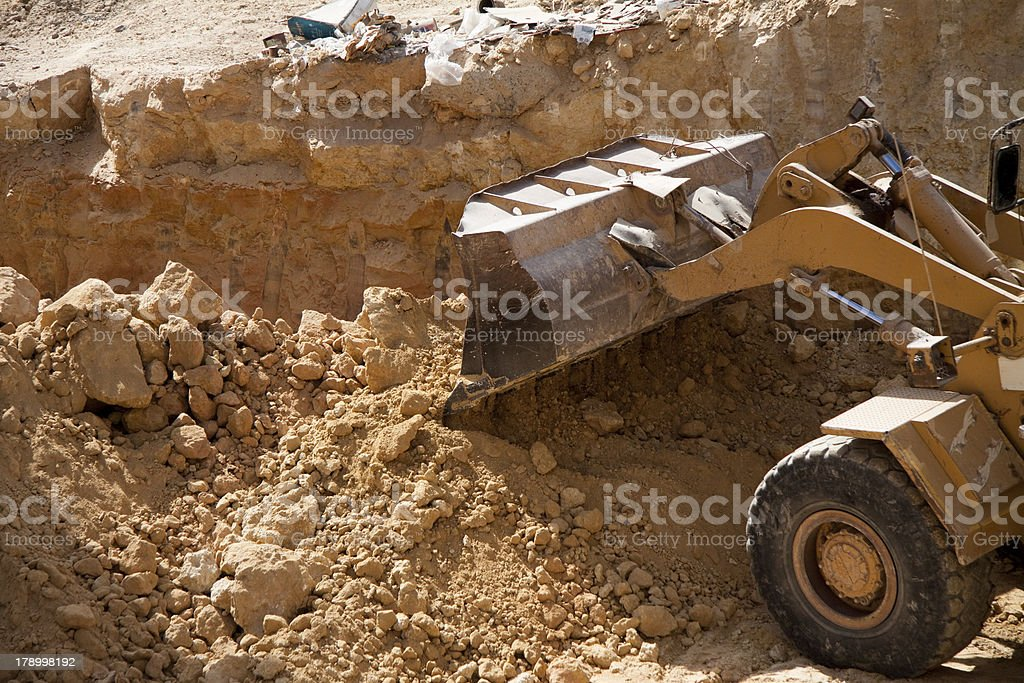 Scrap view of a shovel excavator royalty-free stock photo
