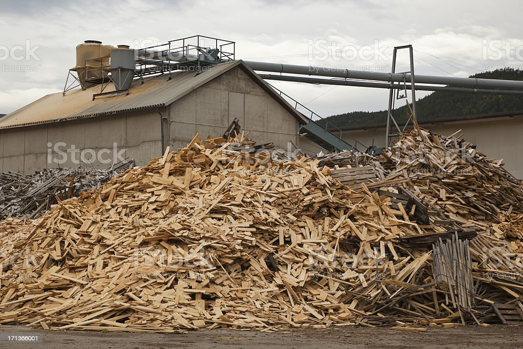 Scrap wood for recycling. stock photo