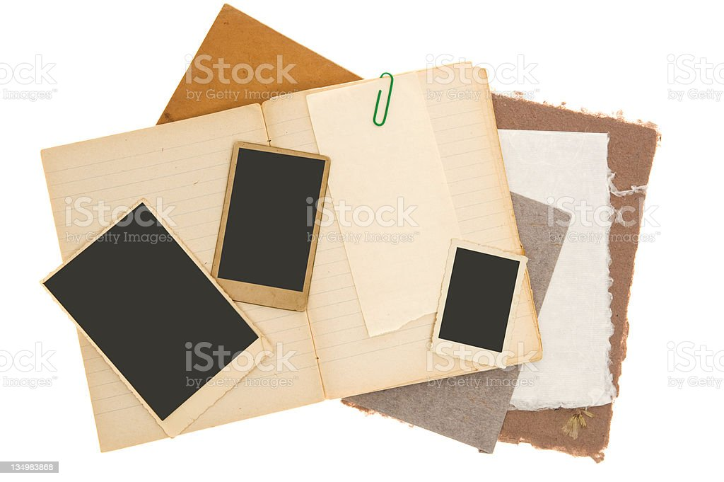 Scrapbook Background with Vintage Photos royalty-free stock photo