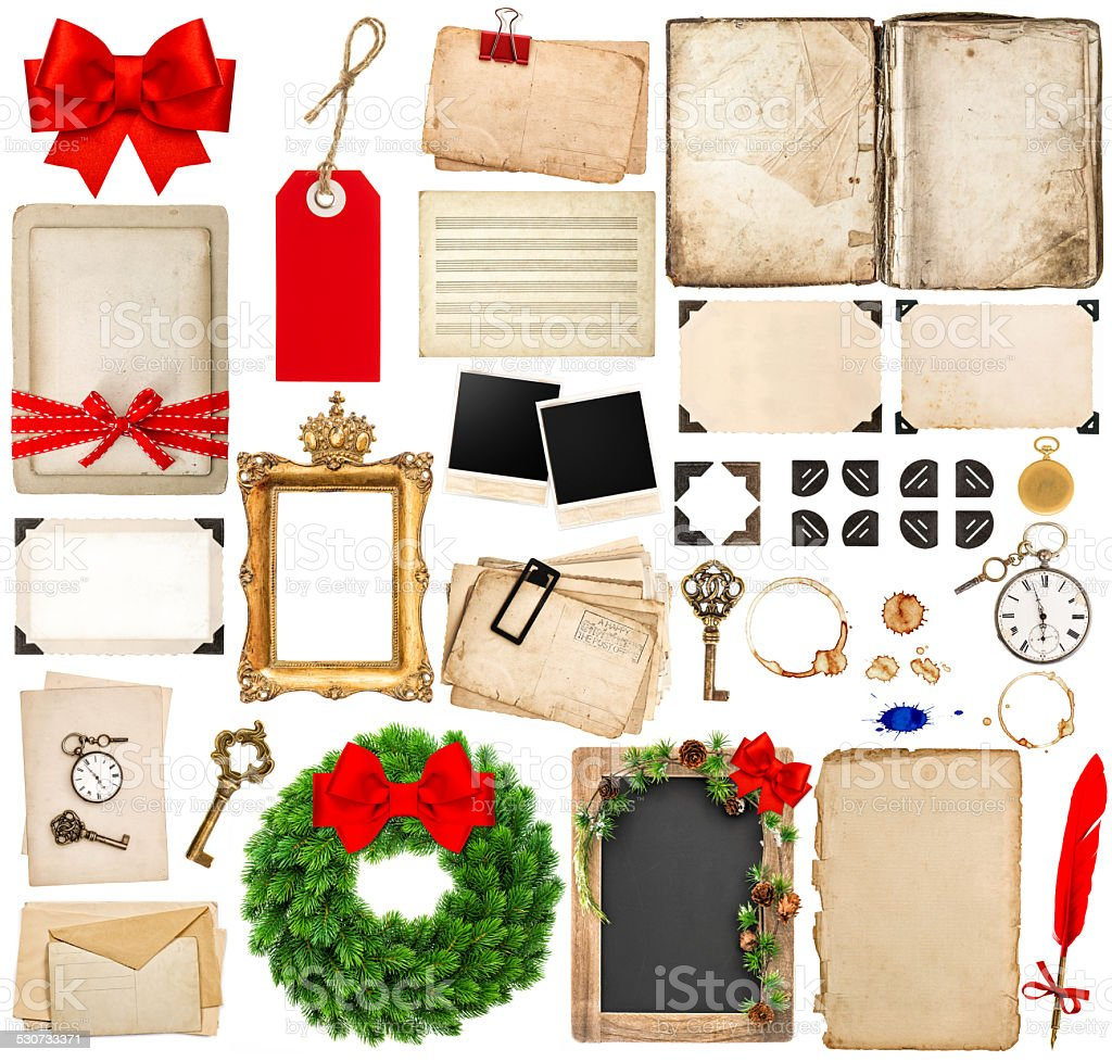 scrapbooking elements for christmas holidays greetings stock photo