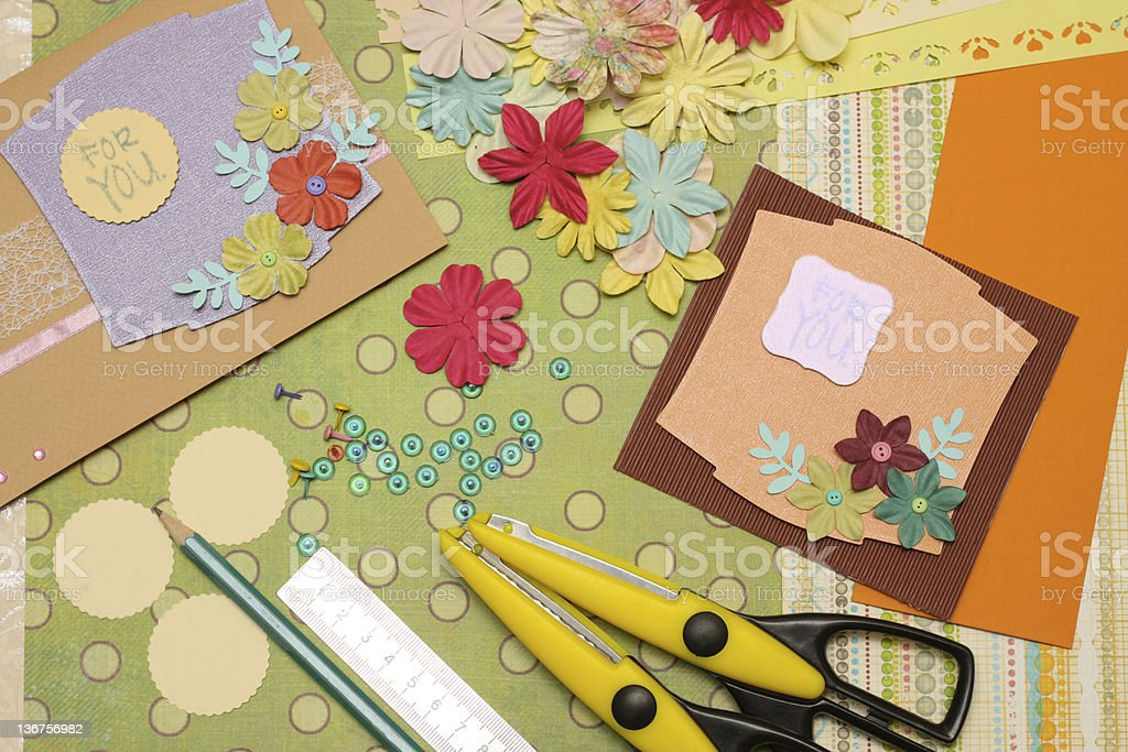 Scrapbooking materials prepared for assembling royalty-free stock photo