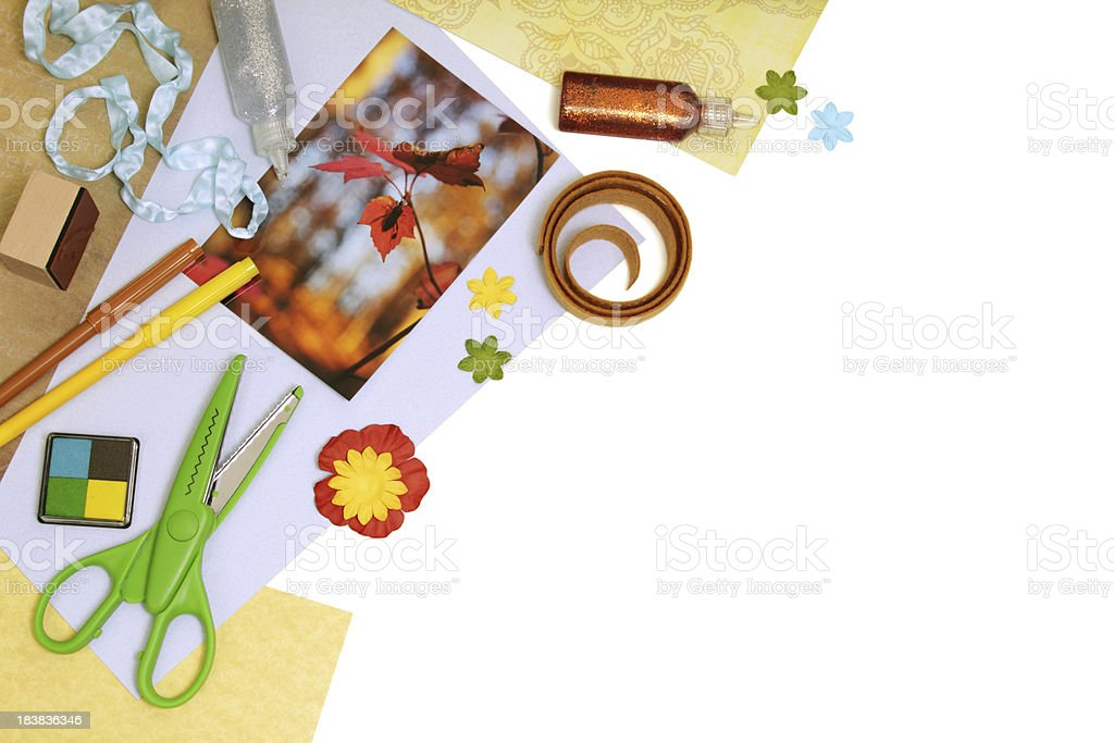 Scrapbooking supplies, isolated with copyspace royalty-free stock photo