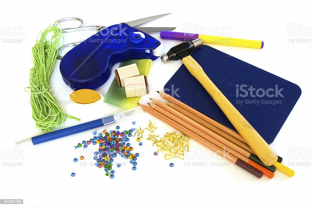 Scrapbooking supplies on white royalty-free stock photo