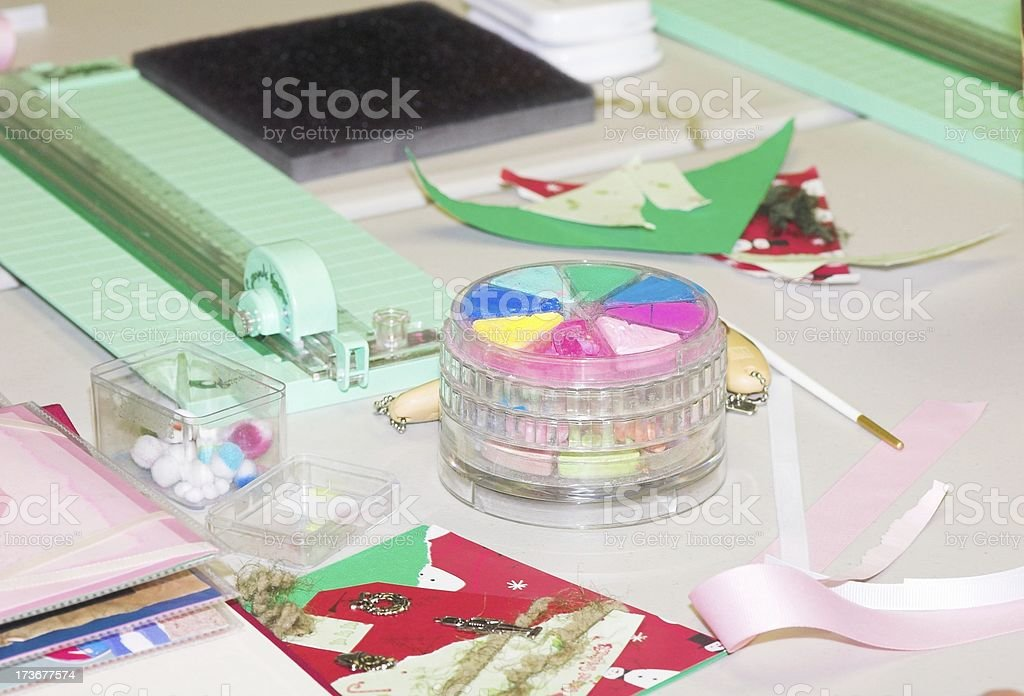 Scrapbooking supplies royalty-free stock photo