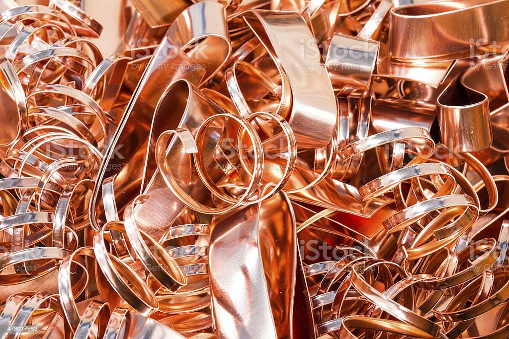 Scrapheap of copper foil (sheet) stock photo