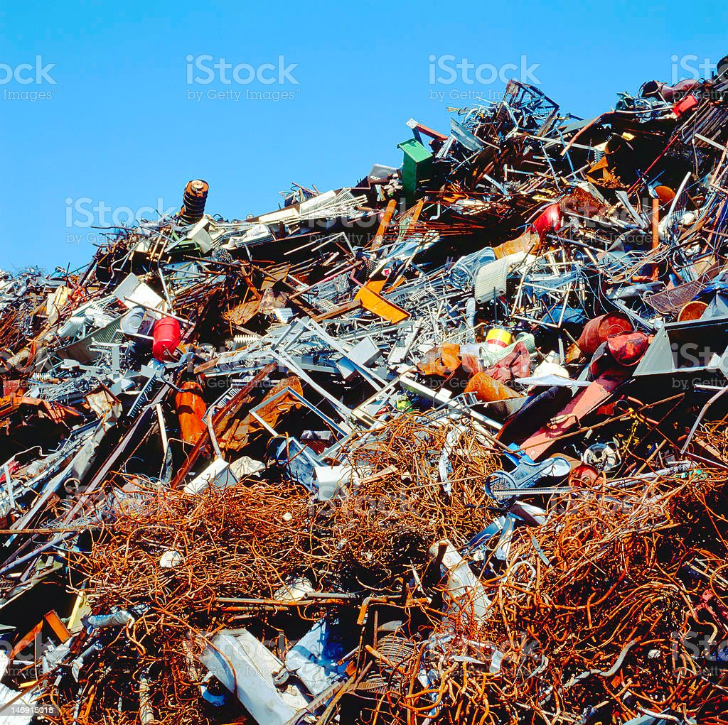 Scrapheap piled up in a scrap metal business stock photo