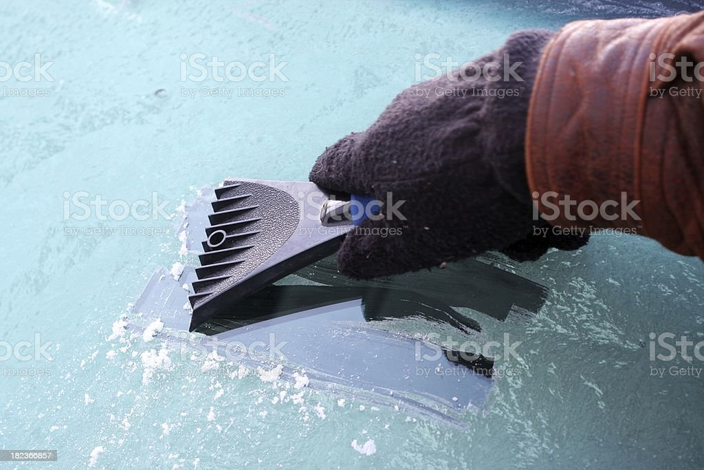 Scraping The Windshield stock photo