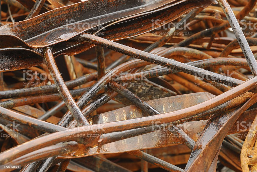 Scrapped rusty wet girders royalty-free stock photo