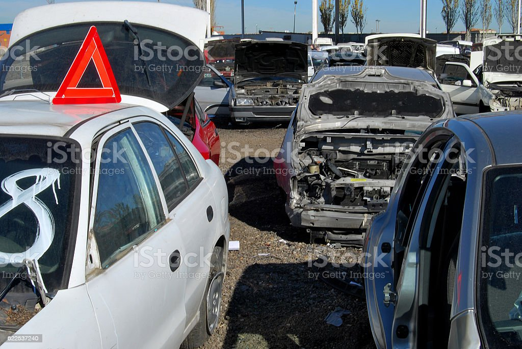 Scrapped vehicles stock photo