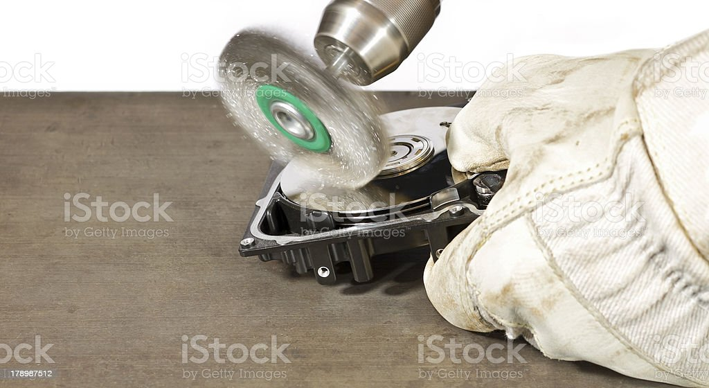 scratch brush cleaning hard drive royalty-free stock photo