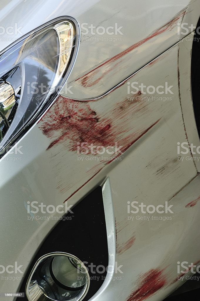 scratched front bumper of vehicle's paint skin royalty-free stock photo