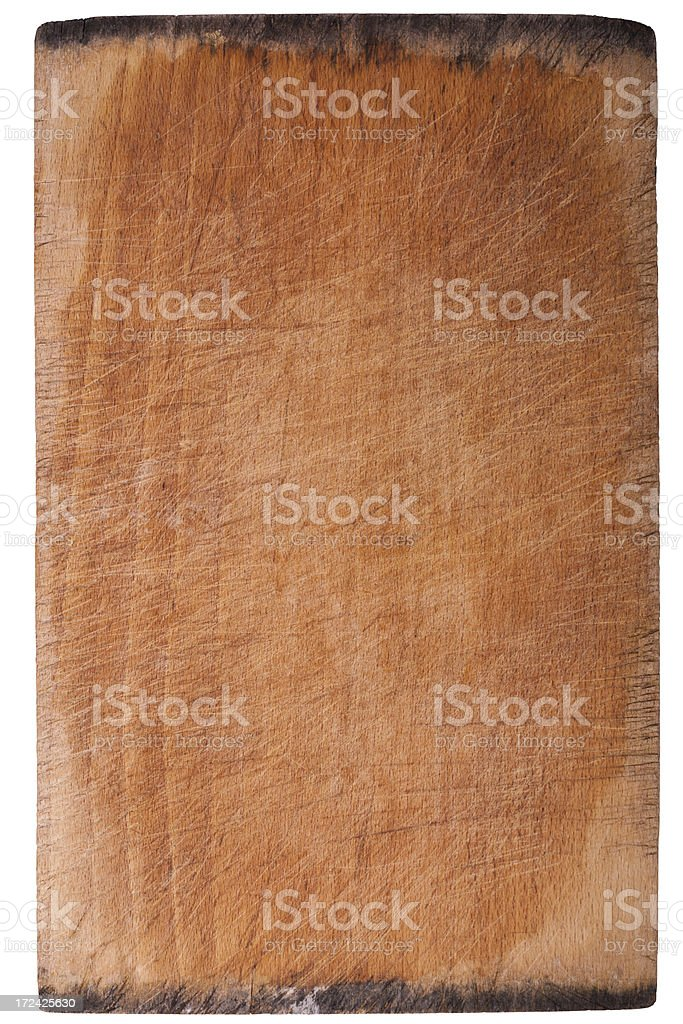 Scratched Grungy Old Cutting Board with Rotting Edges Background royalty-free stock photo