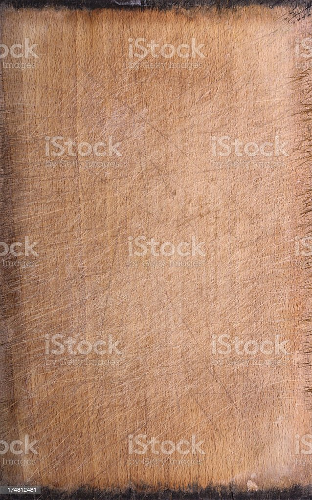 Scratched Grungy Wood Cutting Board Background Texture royalty-free stock photo