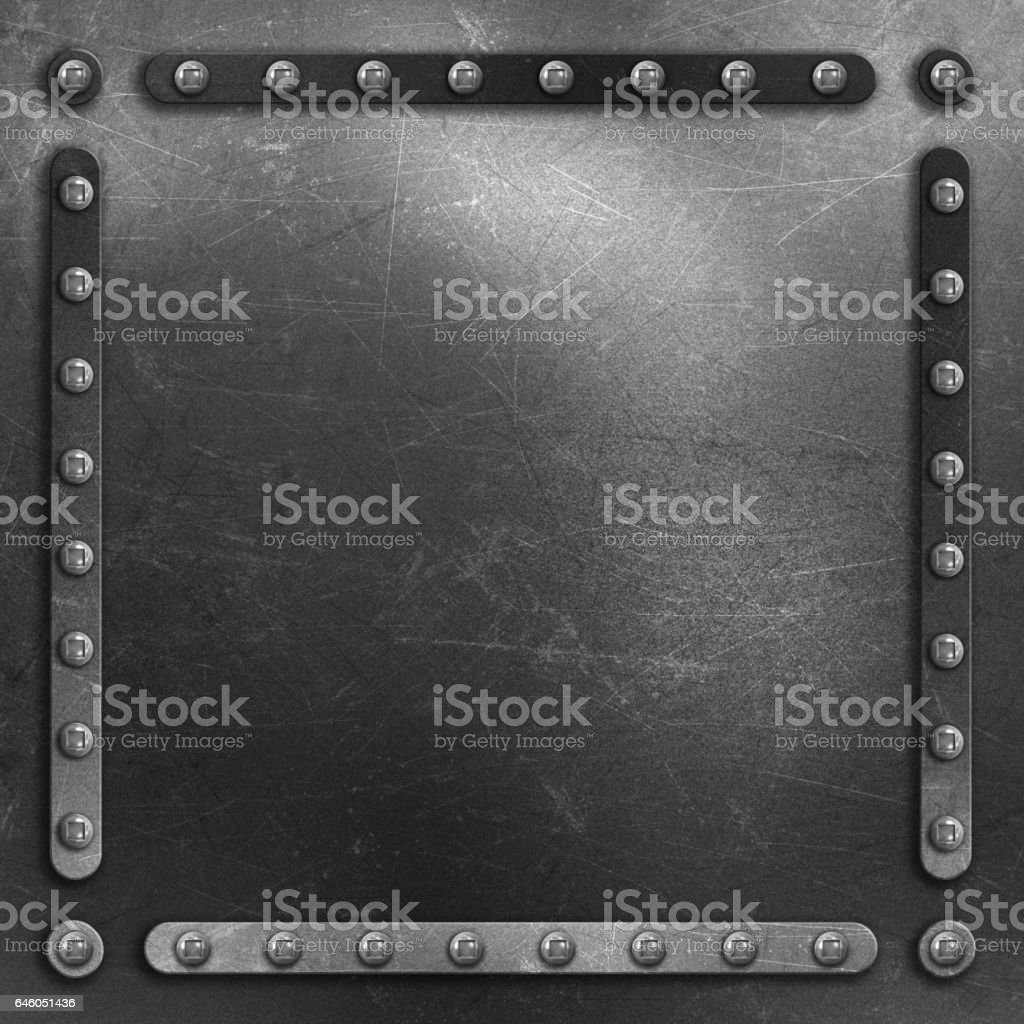 Scratched metal background with rivets vector art illustration