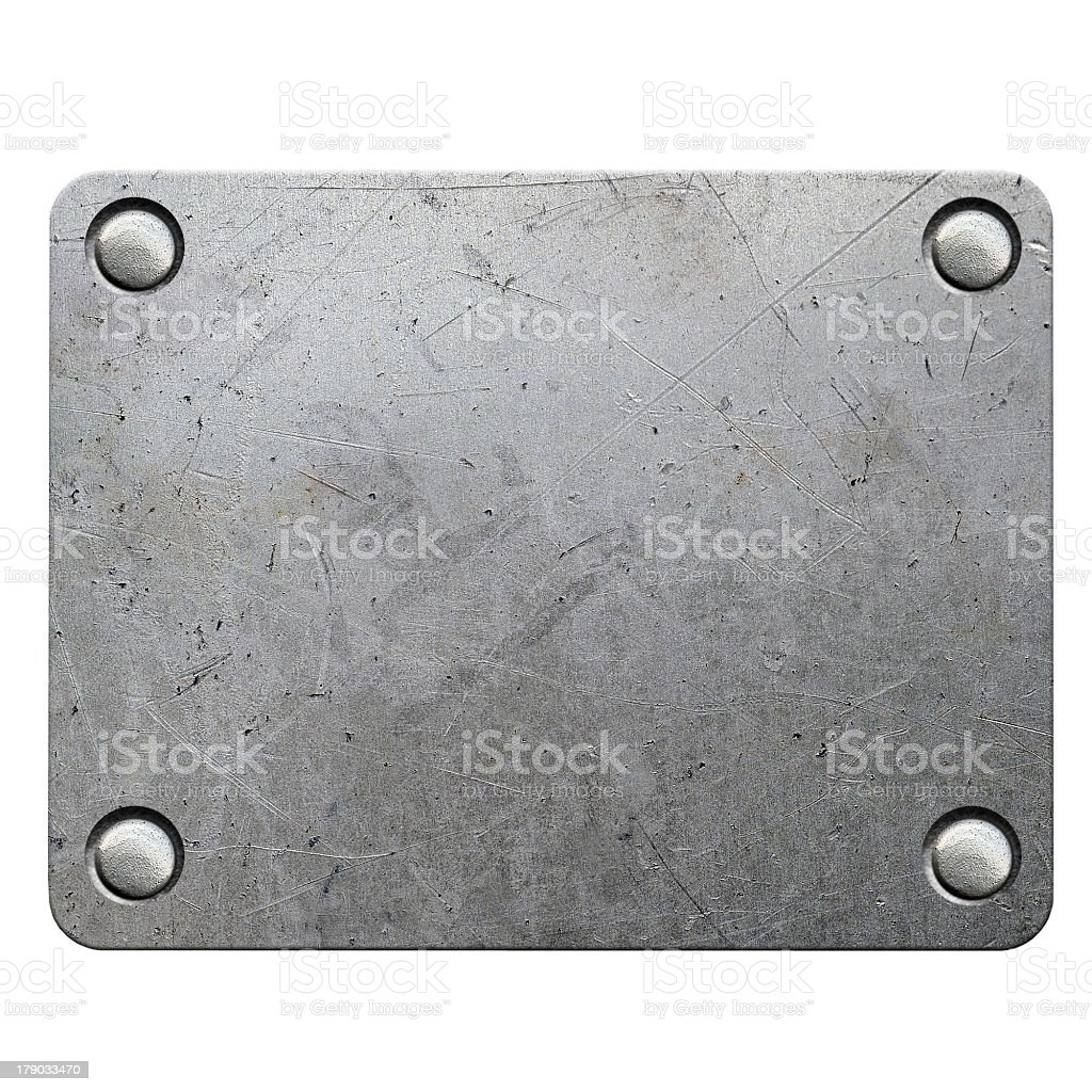 Scratched metal plate on white vector art illustration